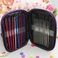 Utility 22pcs Colors Crochet Hooks Yarn Knitting Needles Set with Purple Case S (Color: Multicolor) = 1651424452