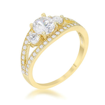 Genna 14k Gold Delicate Three Stone Engagement Ring | 2.5ct |14k Gold | Cubic Zirconia