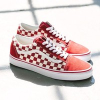 VANS New fashion plaid couple leisure shoes Red