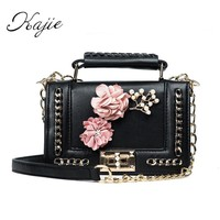 Kajie Luxury Handbags Female Small Shoulder Tote Designer Fashion Flower Flap Pu Leather Chains Lock Pink Women Messenger Bags