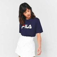 FILA Women Casual Print Short Sleeve Tunic Shirt Top Blouse