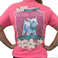Country Life Outfitters Southern Attitude Lamb Sheep Little Cute Little Bad Pink Girlie Bright T Shirt