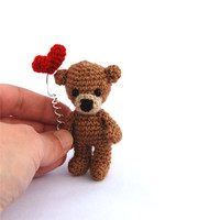 bear, miniature bear, tiny crocheted bear. amigurumi tiny bear, love bear, teddy bear, wee valentine bear, gift for her, love