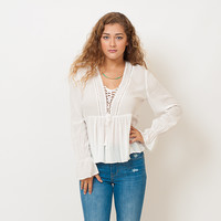Romantic Ruffle Lace Up Top