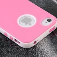 Pandamimi ULAK(TM) Deluxe Fashion Sweety Girls Style TPU + PC 2-in-1 Hard Case Cover for Apple iPhone 4 4G 4S with Screen Protector and Pink Stylus (Pink)