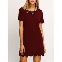 Buttons & Scallop Dress - Burgundy