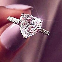 Hot Sale Zircon Heart Ring Engagement Party Ring Jewelry