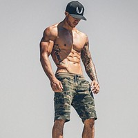 Mens Gym Fitness cotton camouflage shorts Run jogging outdoor sports Calf-Length Sweatpants Man Bodybuilding workout short pants