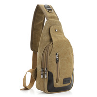 Cloth shake 2017 new casual Men's Canvas PU Leather Messenger Shoulder Back pack Sling Chest Bag