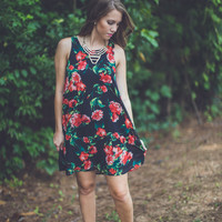 Floral Shift Dress in Black