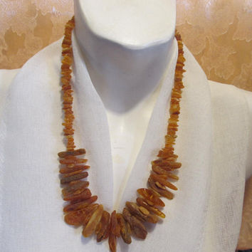 100% Natural Baltic Genuine #Amber #Necklace #raw stones unpolished beads #Medical Healing 45.2 gr, opaque Free Form dark brown adult unisex