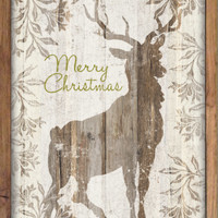 "Merry Christmas deer wooden plaque then framed out with wood.  Handmade. Original art.  Approx 14""x20""x2"""