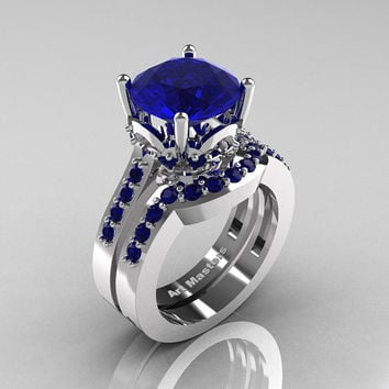 Classic 14K White Gold 3.0 Carat Blue Sapphire Solitaire Wedding Ring Set R301S-14KWGBS