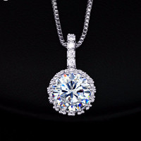 Synthetic Diamond Pendant Necklaces Hearts and Arrows CZ