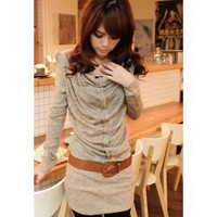 Fashional Long Sleeve Khaki Dress For Women With Corsage(Without Belt)