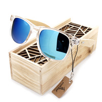 BOBO BIRD Clear Color Wood Sunglasses Men's Women's Cheap Bamboo Polarized Sunglasses With Box UV 400 Protection WIth Gift Box