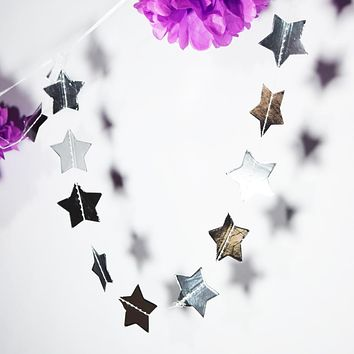 BLOWOUT Silver Metallic Star Shaped Paper Garland Banner (8.5FT)