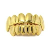 1 Set Hip Hop Gold Teeth Grillz Top & Bottom Grills Dental Mouth Punk Style Teeth Caps Cosplay Party Tooth Rapper Jewelry bijoux