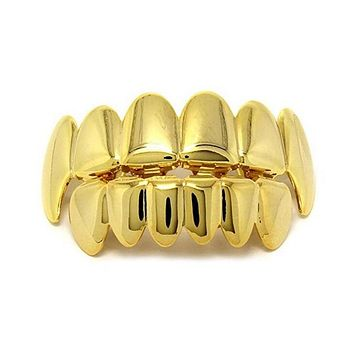 1 Set Hip Hop Gold Teeth Grillz Top & Bottom Grills Dental Mouth Rapper Jewelry