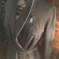 Vintage Bill Blass Monogramed Blue and White Striped Shirtdress Style Wrap Robe - could make a cool dress too! Pockets, Tie waist