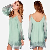 Anself Fashion Women Chiffon Dress Off the Shoulder Spaghetti Straps Backless Loose Shift Dress Green