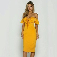 fhotwinter19 Women's fashion hot sale fashion word solid color strapless strapless dress