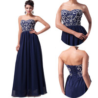 PLUS + Long Navy Blue Evening Gown Bridesmaid Dress Prom Formal Party Ball Gown