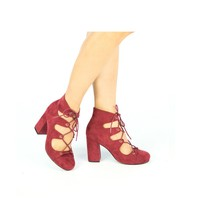 Suede Lace Up Heels (TESS-02 Burgundy)