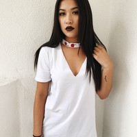 ROSES CHOKER CUT OUT TEE- WHT