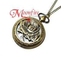 BEAUTY AND THE BEAST Enchanted Rose Pocket Watch Necklace