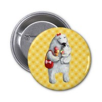 Mother Polar Bear Buttons from Zazzle.com