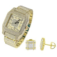 Square Face Gold Tone Men's Watch with Matching Earrings Combo Set