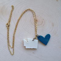 I Love Washington Heart and State Charm Necklace on Delicate 18-inch Gold Chain Custom Colors with Gift Box Included