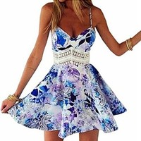 Women's Spaghetti Strap Floral Printed Skater Short Dress