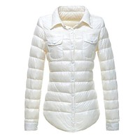 new arrival autumn and winter womens slim pattern quilting short light weight white duck down jackets button candy color tops