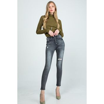 Mid Rise Skinny Button Fly Jeans