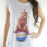 Bear Happy Funny Design Animal Women T-shirt Bear Tank White T-Shirt Screen Print Size S