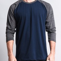 Men's Baseball T-Shirt (Navy/Charcoal)