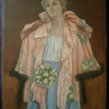 Oil Painting by Listed artist - Portrait of a Young Woman Holding a Bouquet - Frantisek Gyuzkovits (1876-1968)