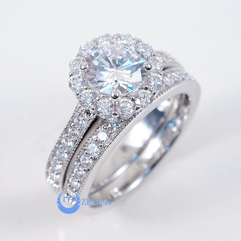 Image of 1ct Round Cut Engagement Wedding Set 2 RINGS Signity CZ Rhodium Sterling Silver