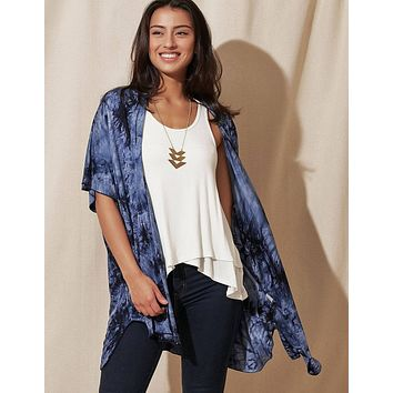Tie-Dye Kimono Wrap - Navy -As-Is-Clearance - Small Only