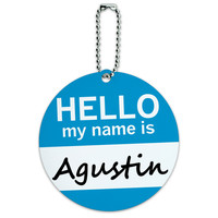 Agustin Hello My Name Is Round ID Card Luggage Tag