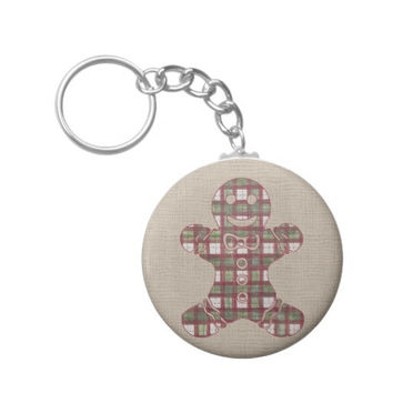 Button Keychain with Christmas Plaid Gingerbread Man on Burlap