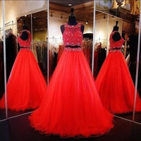 Elegant Vestido De Festa Longo Vermelho A Line Red Tulle Two Piece Rhinestone Prom Dress Floor Length Beautiful Party Dresses