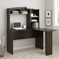 L-Shaped Computer Corner Home Office Executive Desk with Hutch