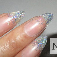 Glitter Stiletto Nails | Almond Nails | Fake Nails | Press on Nails