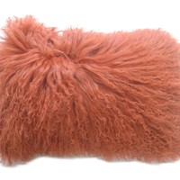 Lamb Fur Pillow Rectangular Orange Wool