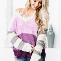 Shark Bite Purple Color Block Sweater