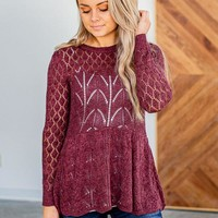 Grace & Lace Pointelle Peplum Sweater