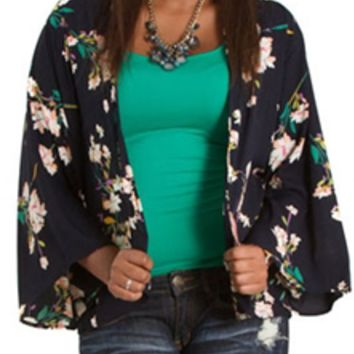 Mind Code Floral Kimono with Bell Sleeves T70940